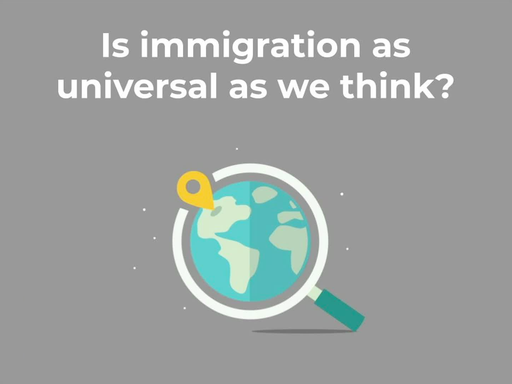 Media placard reading 'is immigration as universal as we think?'