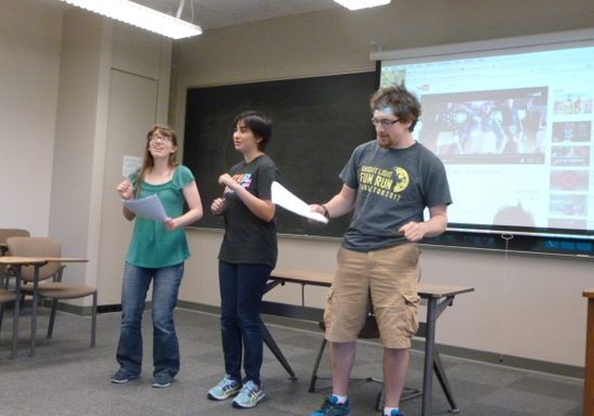 Students performing karaoke in Hebrew.