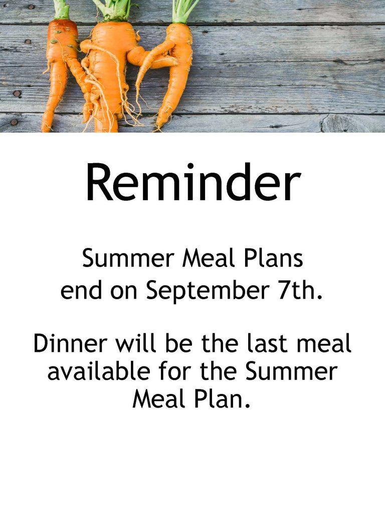 Summer Meal Plan Expires September 7th