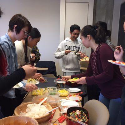 Students preparing Japanese food.