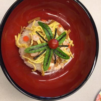 Artfully designed Japanese rice dish