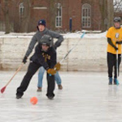 Broomball Action, St. Olaf Rec Staff vs. Carleton Rec Staff