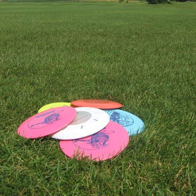 Disc Golf discs on the fields behind the Rec