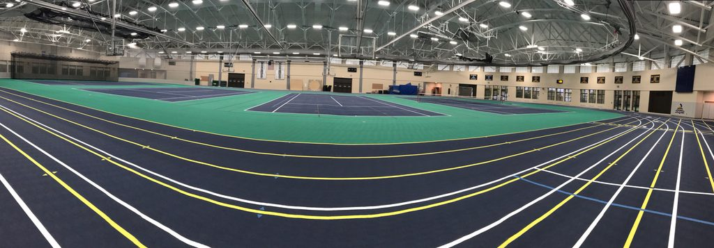 Wide view of the field house courts.