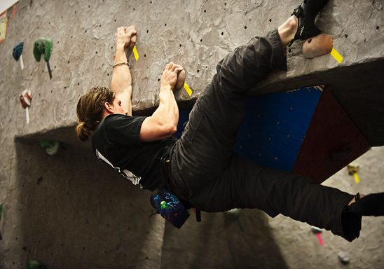 Student competes in Bouldering Competition