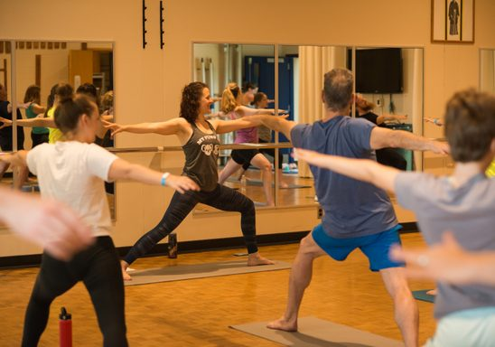 Yoga class in the multi-use room