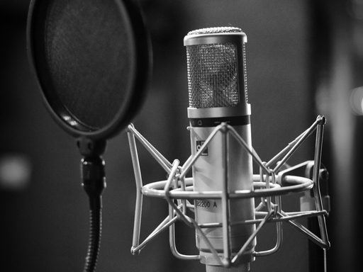 Grayscale image of a professional microphone