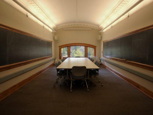 Empty seminar table