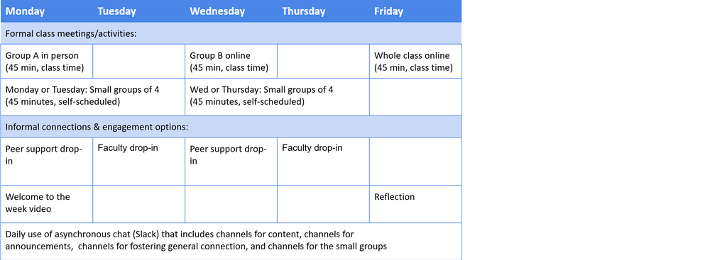 Summary of the types of activities that would happen each day of the week.