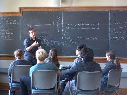 Professor teaches a computer science class