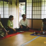 Facutly participating in a Japanese tea ceremony.