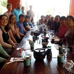 Large group luncheon at Japanese restaurant.