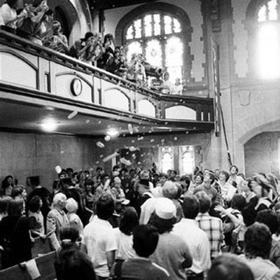 Historic photograph from President Swearer's inauguration in the Chapel.