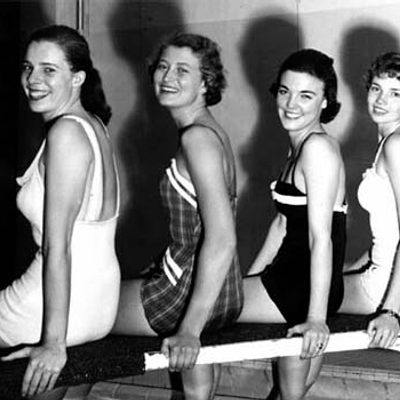Historic photograph of Carleton's synchronized swimming club, the