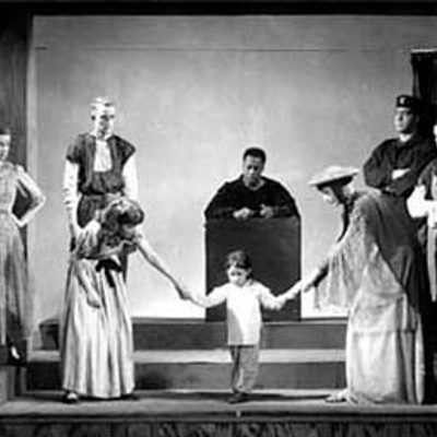 Historic photograph of a play at Carleton.