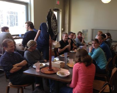 Students and Faculty at weekly Classics Table
