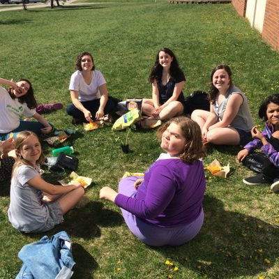 Taking Women Circle outside in the beautiful springtime weather.