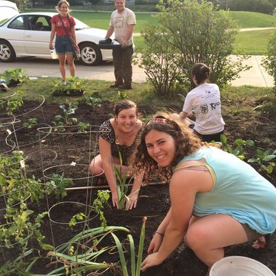Students plant the new Eat the Lawn in front of Myers.