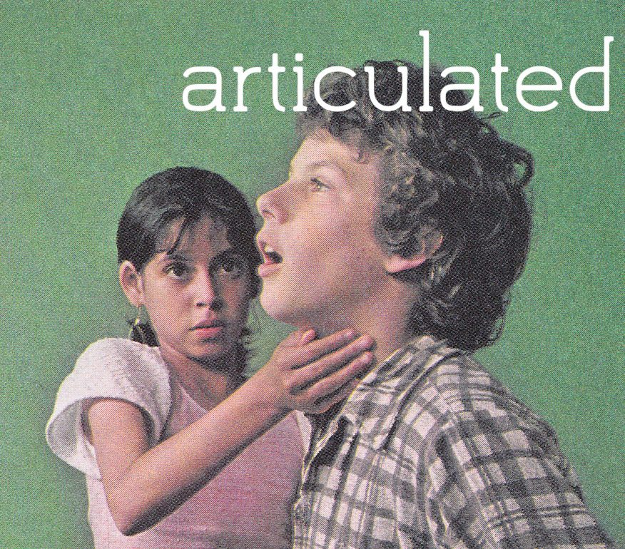 """photo of two children, with the word """"articulated"""" superimposed on the image"""