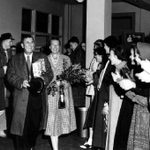 Welcomed back to Carleton, March 16, 1957.