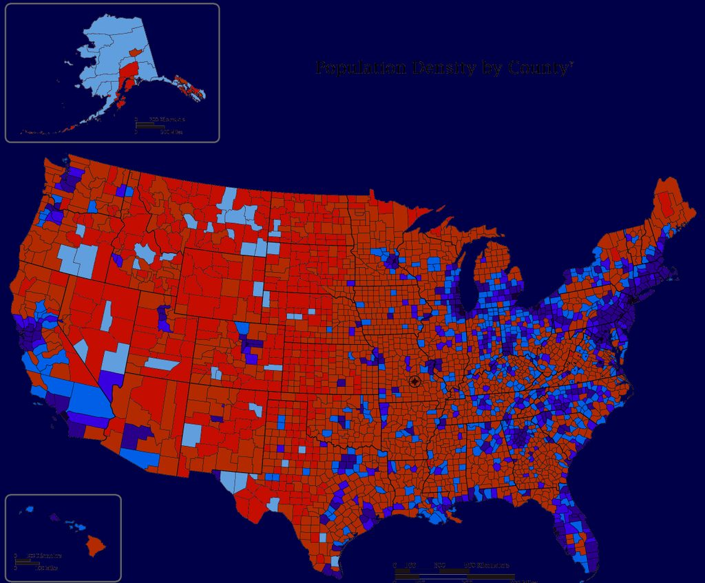 Population Density by County, US
