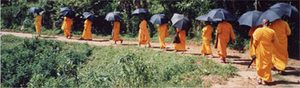 monks walking in a line