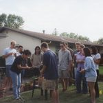 Mariko with her students at a BBQ