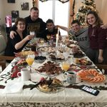 Family eating holiday brunch.