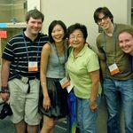 Mariko posing with alumni.