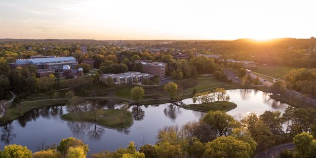 Aerial view of the Carleton College campus.