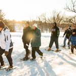 Students snowshoe in the arb