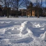 Students joined CANOE to create an octopus out of snow