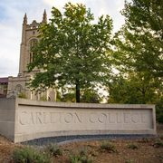 Carleton sign outside Skinner Chapel