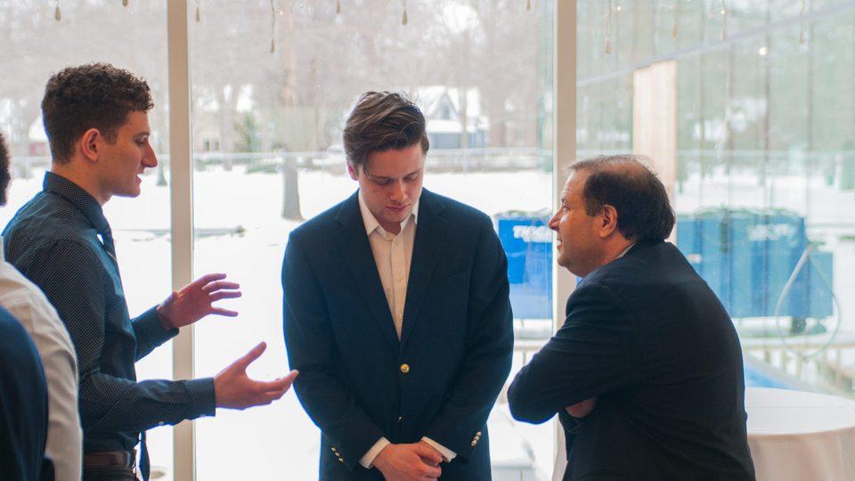 Students talk with President Steve Poskanzer