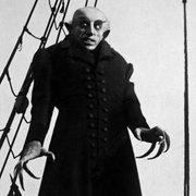 "Black & white still from the classic horror film, ""Nosferatu."""