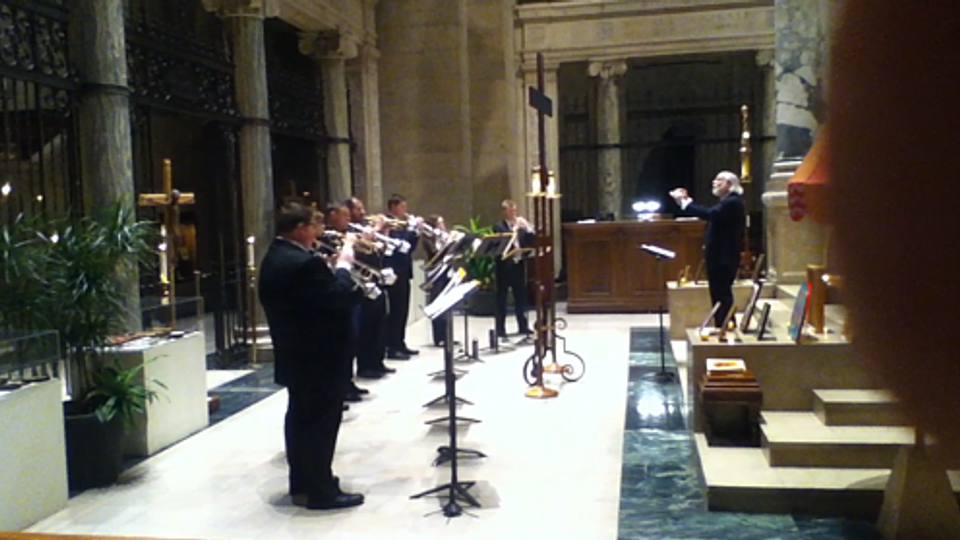 Image of the U of M Trumpet Ensemble performing at the Basilica of Saint Mary in Minneapolis.