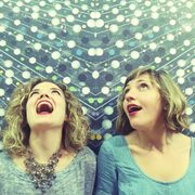 Portrait of Justine Aronson and Sarah Goldfeather, the musical duo Cipher.