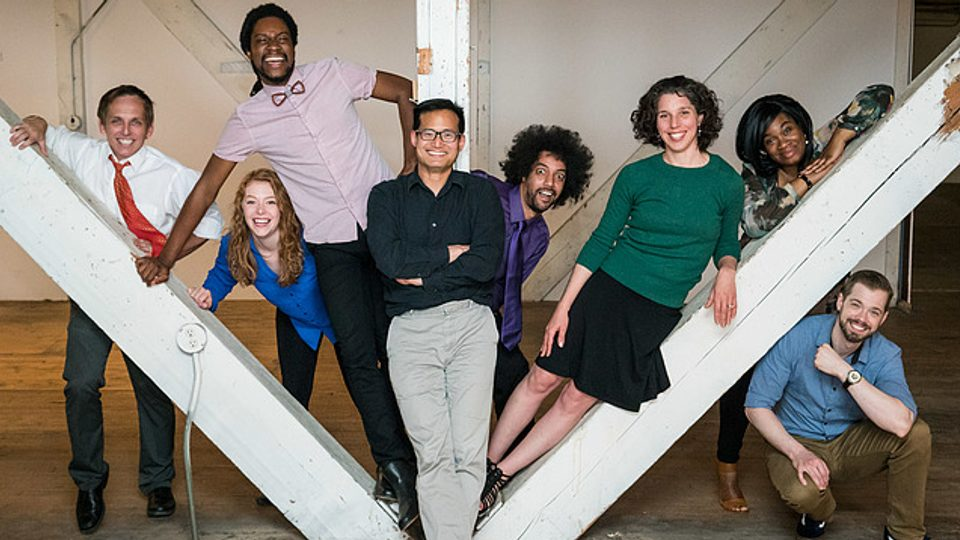 Image of members of the Theater of Public Policy improvisational group.