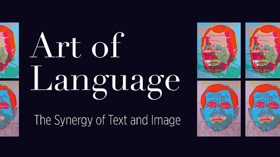 """Logo for the Perlman Museum exhibit, """"Art of Language: The Synergy of Text and Image"""""""
