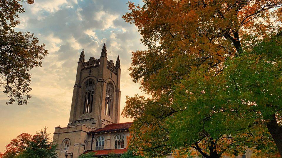 Skinner Chapel in the fall