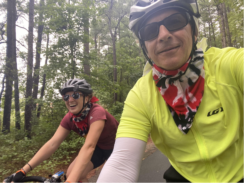 Andrews finishing his ride with daughter Sarah