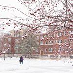 Snow falls on campus outside Burton Hall