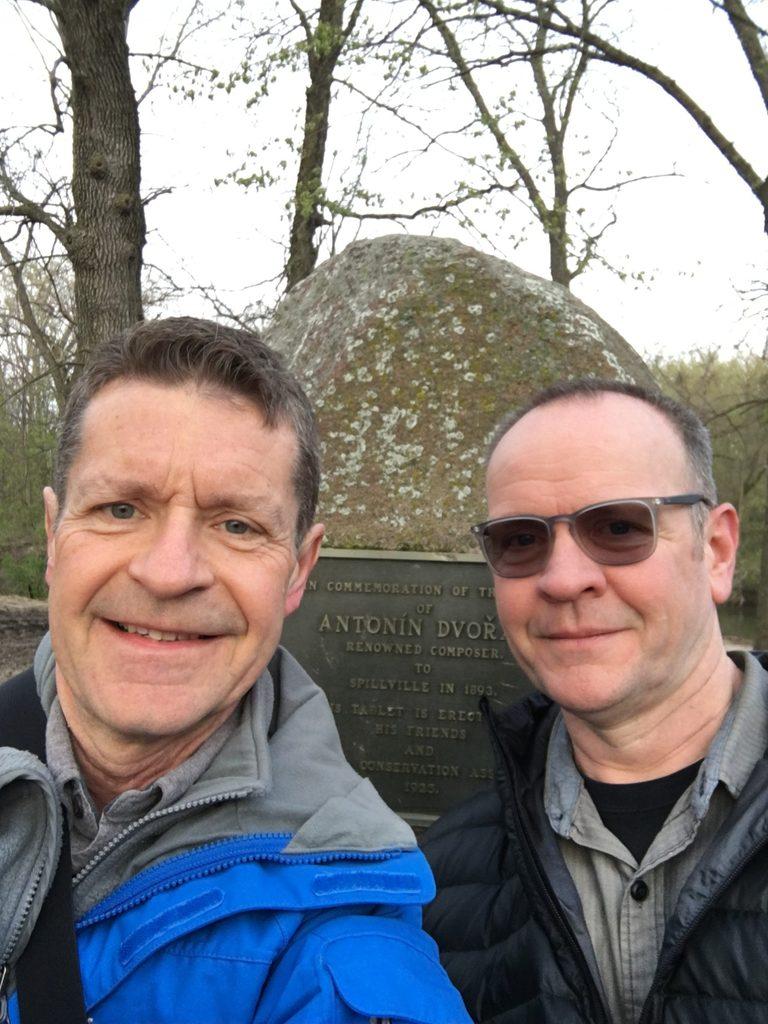 McKone and Beccue at the Dvorak Memorial in Spillville, Iowa, April 2017