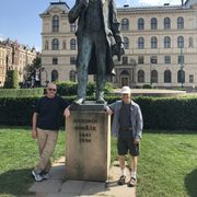 Beccue and McKone at Dvorak's statue at the Rudolfinum in Prague.