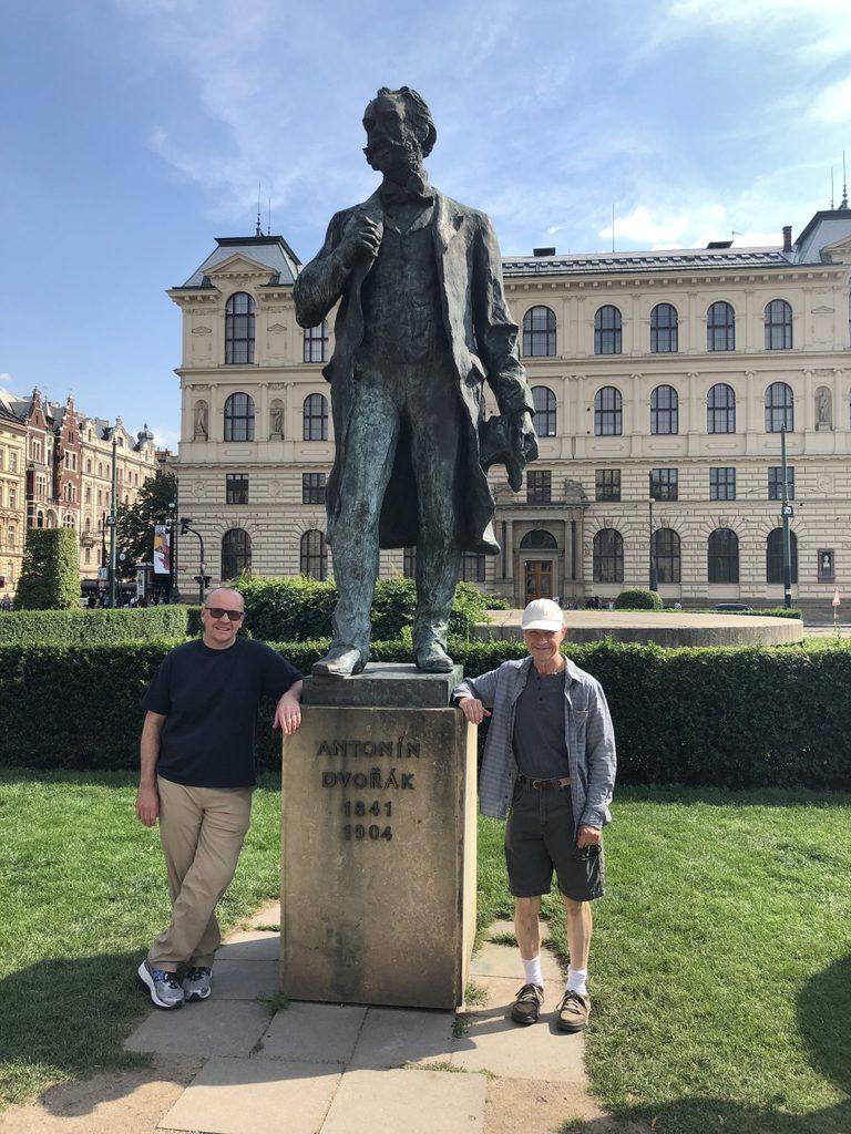 McKone and Beccue at Dvorak's statue at the Rudolfinum in Prague.
