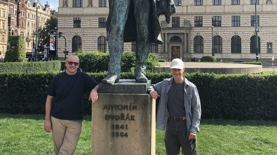 Beccue and McKone at Dvorak's statue at the Rudolfinum in Prague.