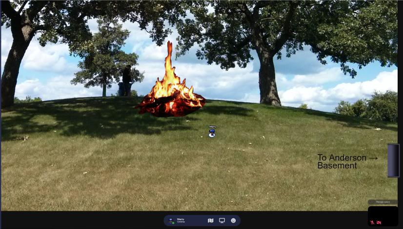 screenshot of virtual bonfire at Hill of Three Oaks