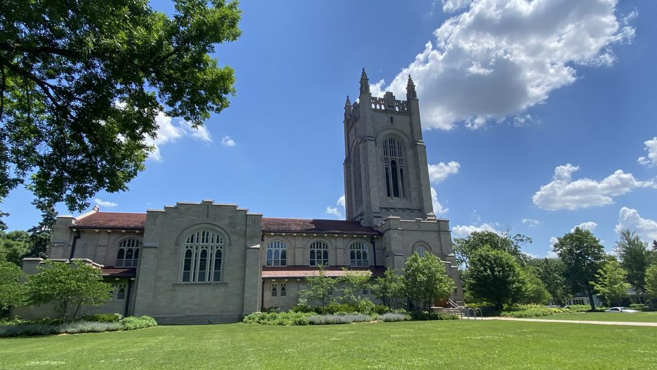 Skinner Chapel on a sunny summer day