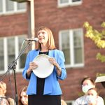 President Alison Byerly with her Frisbee speaking to the Class of 2025.