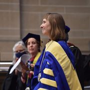 Alison Byerly smiling after being installed at Carleton's 12th President.